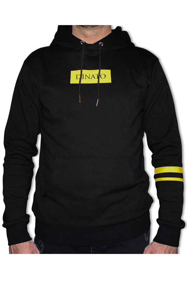 DINATO Hoodie Black Yellow Front