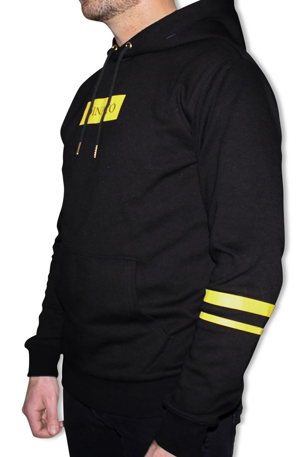 DINATO Hoodie Black Yellow Side